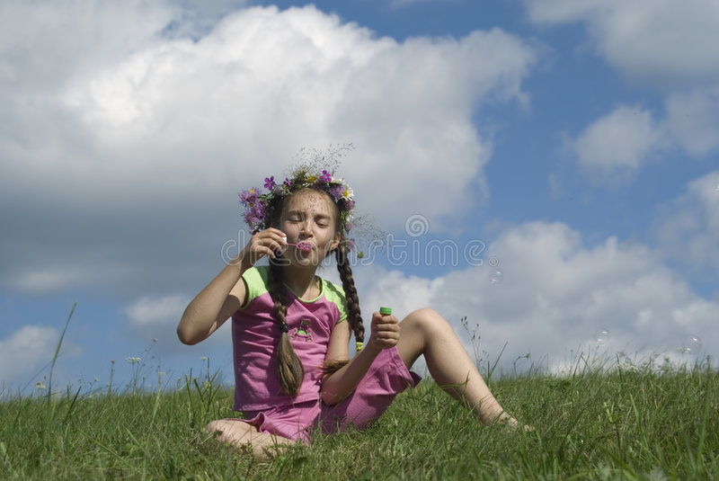 Download Girl with  soap bubbles I stock image. Image of summer - 2987829