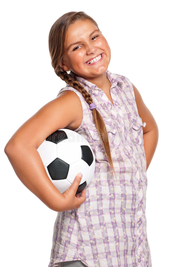 Download Girl with soccer ball stock image. Image of girl, little - 27008557
