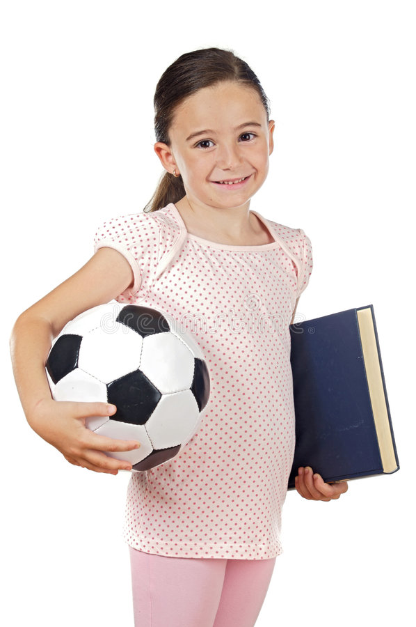 Girl with soccer ball and book stock images