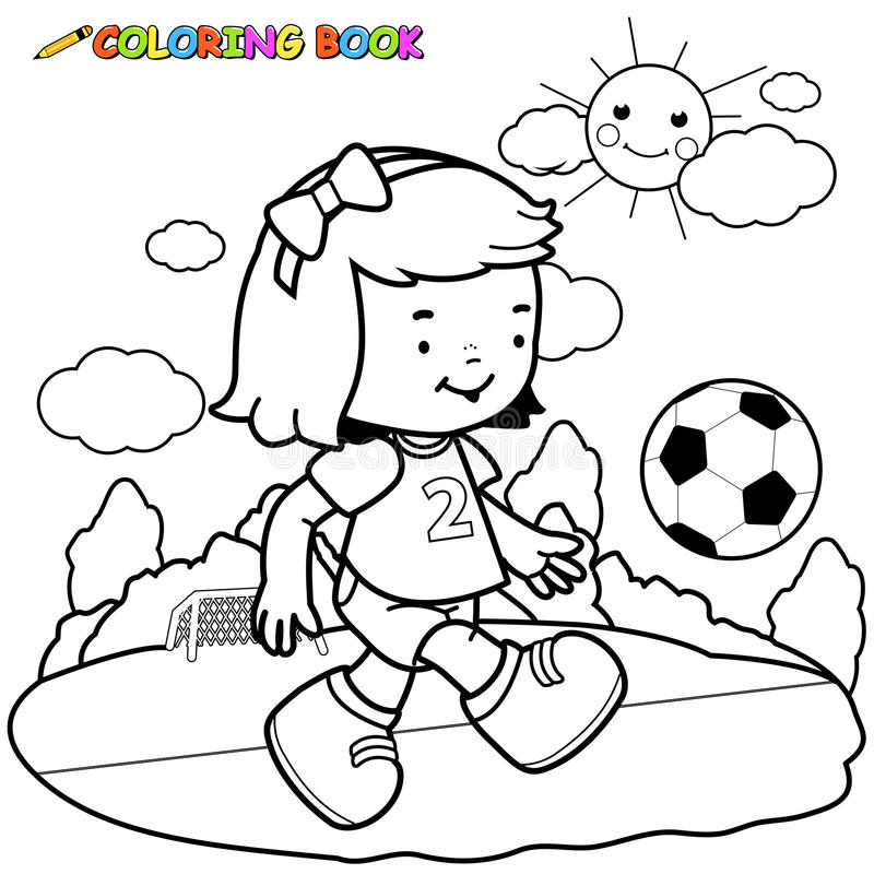 Girl Soccer Player Coloring Page Stock Vector - Illustration of ...