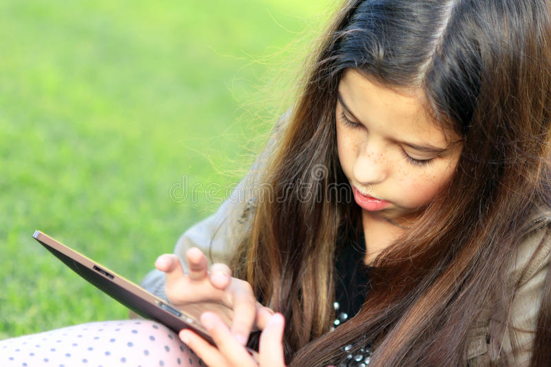 Girl on Social Network royalty free stock photography