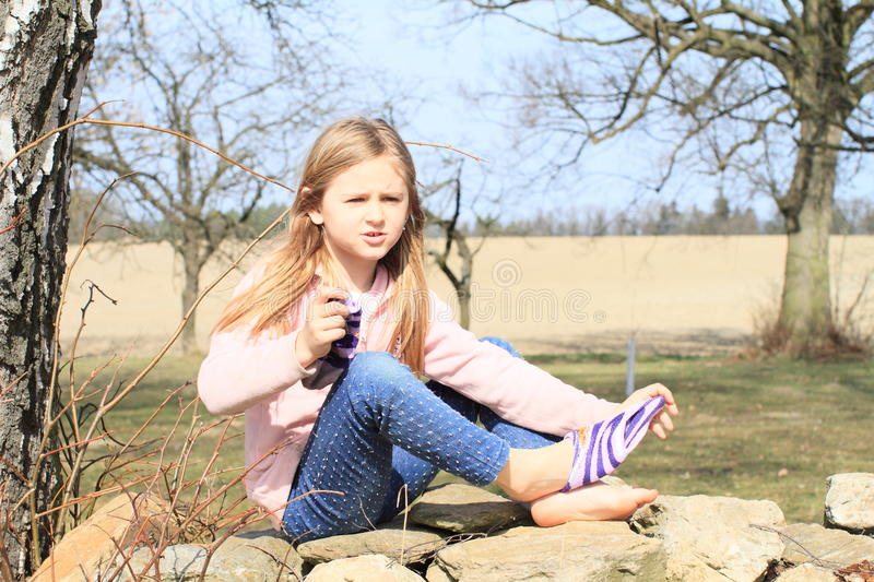 Download Girl in socks on wall stock image. Image of autumn, childhood - 39044007