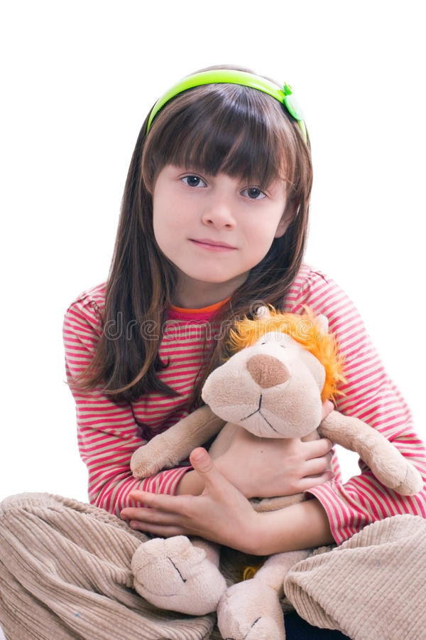 Download Girl with soft toy stock photo. Image of caucasian, children - 18207412