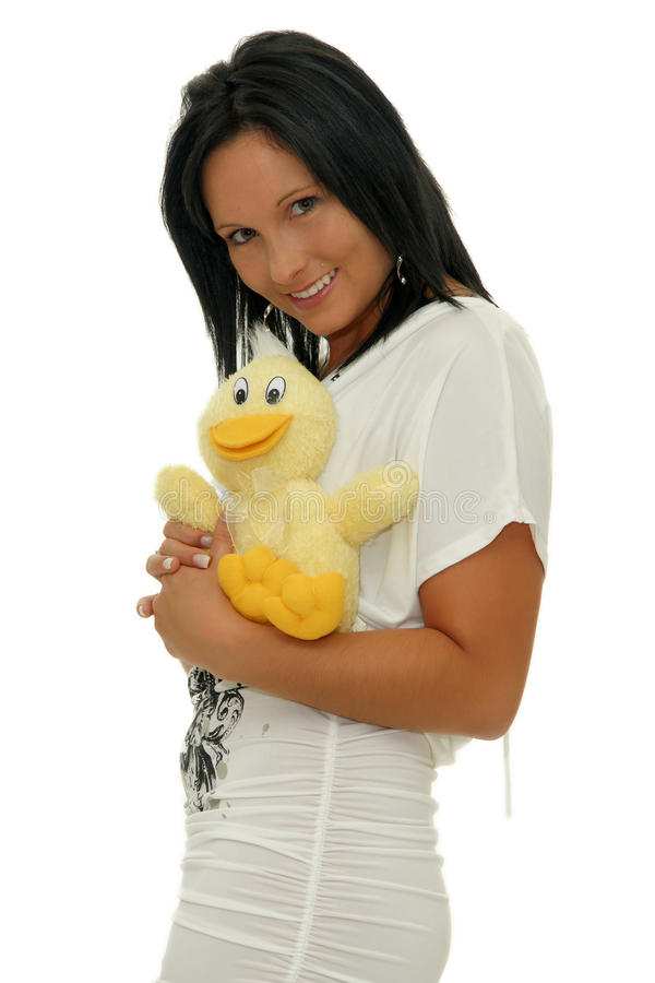 Download Girl with soft toy stock photo. Image of hand, yellow - 22406076