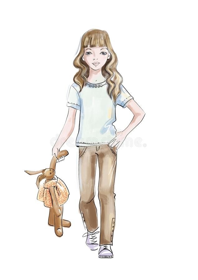 Girl with a soft toy. royalty free illustration