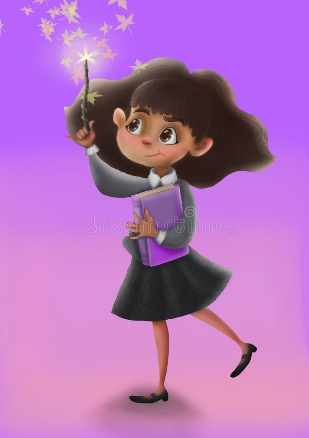 Girl sorceress hermione, in school uniform and a magic wand, illustration, character design stock illustration