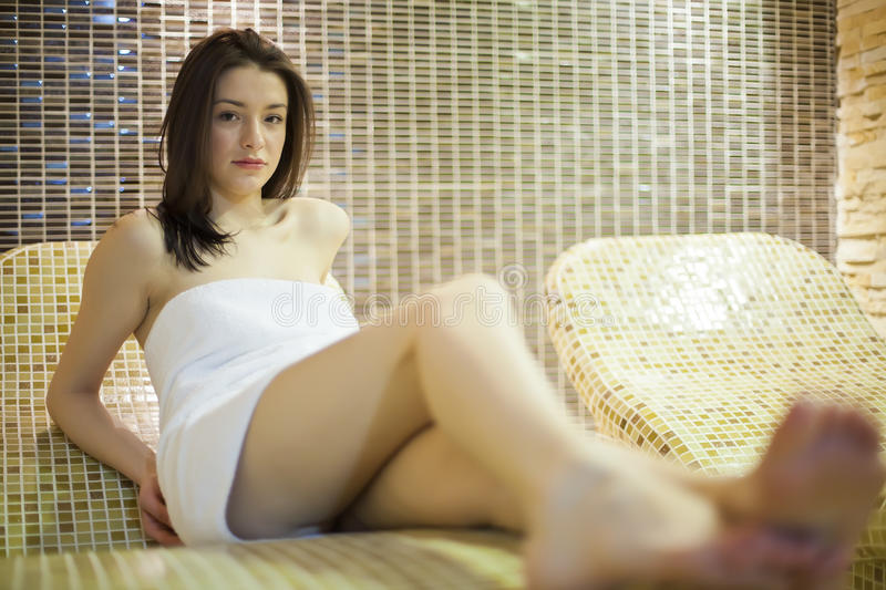 Girl in spa stock images