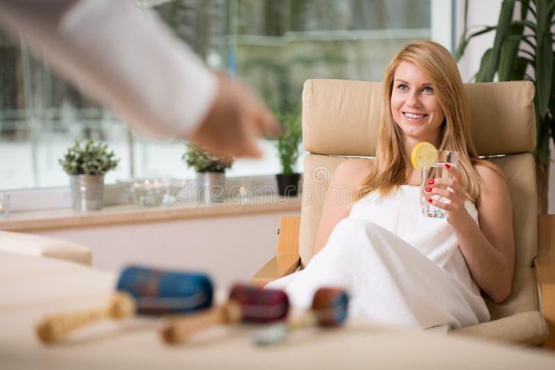 Girl in spa room royalty free stock image