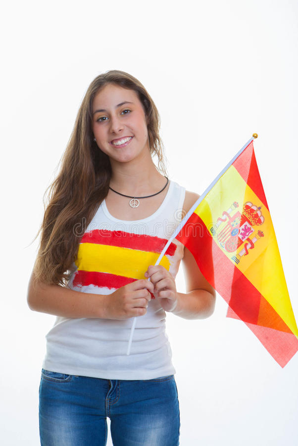 Girl Spanish flag stock photo