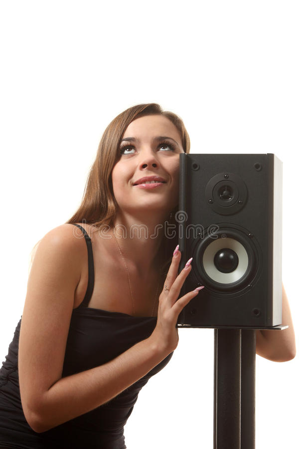 A Girl And A Speaker Stock Photography
