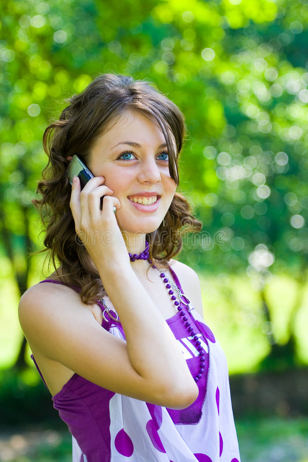 Download Girl speaking on phone stock photo. Image of glass, nice - 5536870