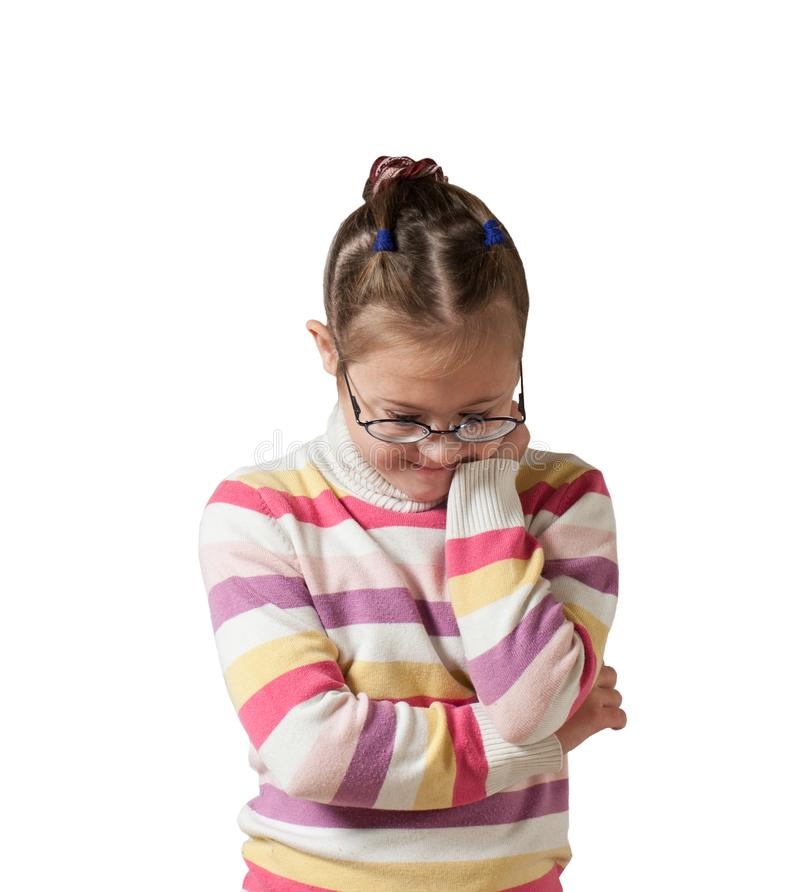 Girl with special needs in glasses to the waist stock image