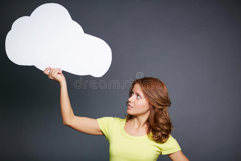 Girl with speech bubble stock photos