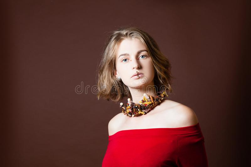 Girl with spice jewelry stock photo