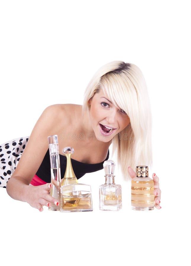 Girl. Spirits. Cosmetics royalty free stock photography