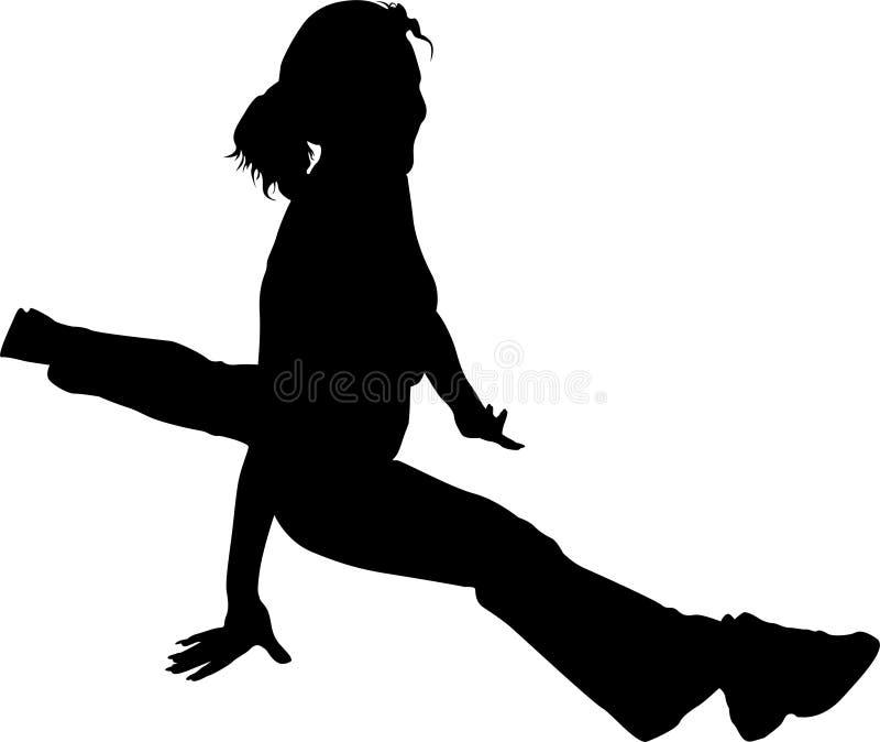 Girl in the splits silhouette. Vector girl in the splits silhouette - health club royalty free illustration