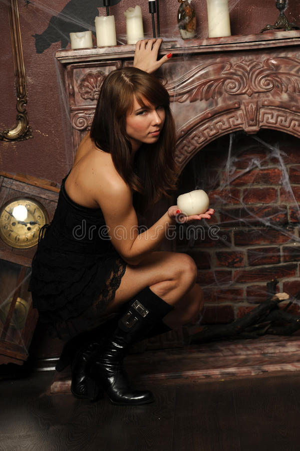 Girl in a spooky house royalty free stock photo