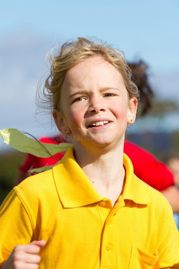 Girl in sport race stock photo