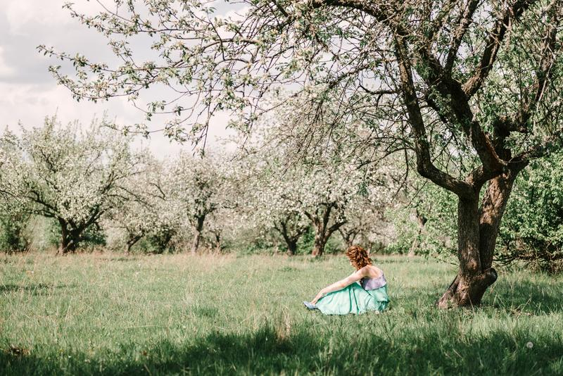 A girl in spring in a flowering apple orchard sits under the crown of an apple tree. A girl in a green and purple dress, with long hair in a spring apple garden royalty free stock photo