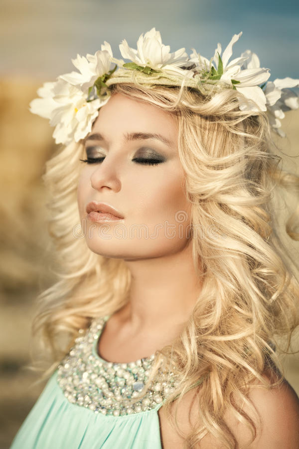 Girl, spring, wreath royalty free stock photo