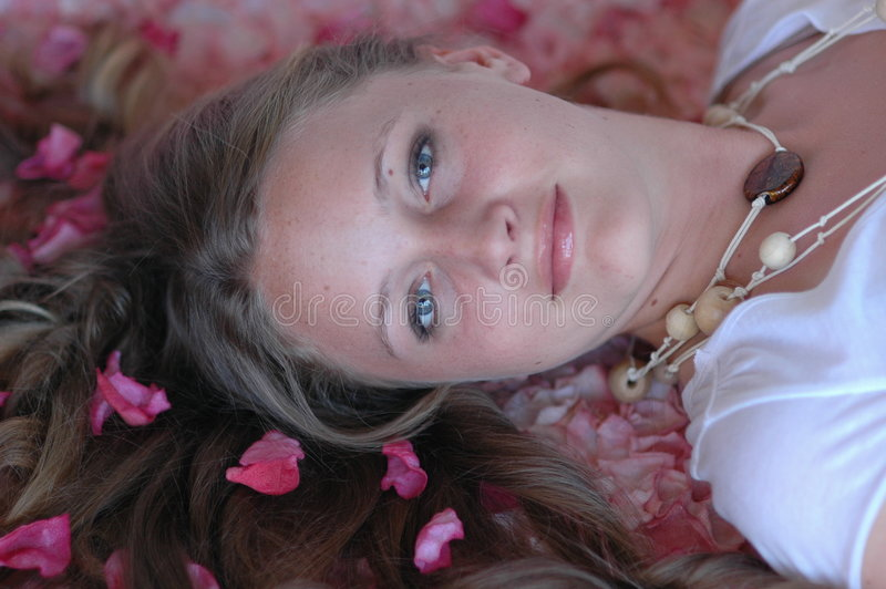 Download Girl in springtime/spa stock photo. Image of flowers, lying - 711566