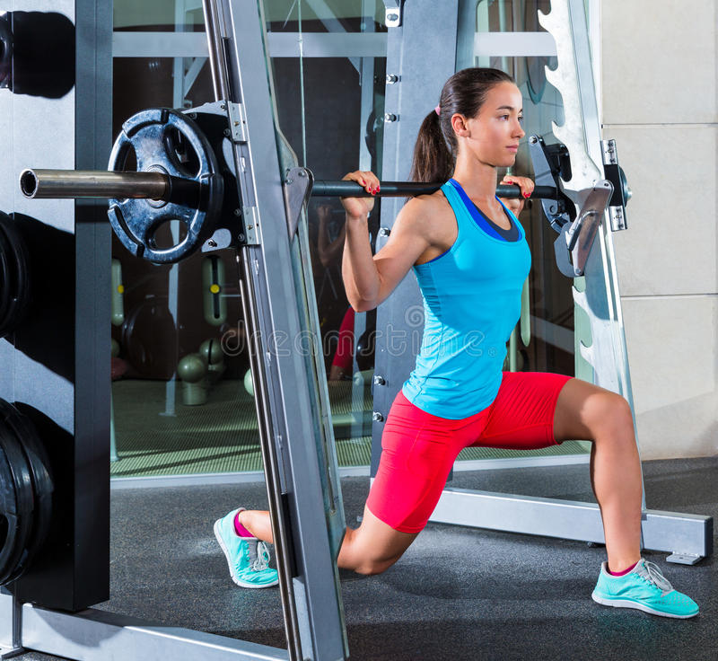 Download Girl Squats In Multipower Squatting Smith Machine Stock Image -  Image of multipower, exercise