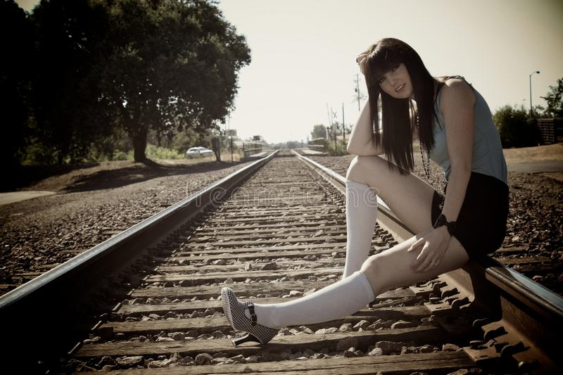 Download Girl on the Train Tracks stock photo. Image of grass - 10490770