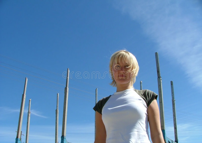 Download Girl standing stock image. Image of abstract, female, blue - 198715
