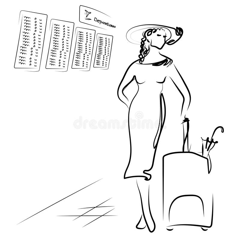 The girl is standing in the airport hall with a suitcase on the background of the departure board. Monochrome. Vector. The girl is standing in the airport hall stock illustration