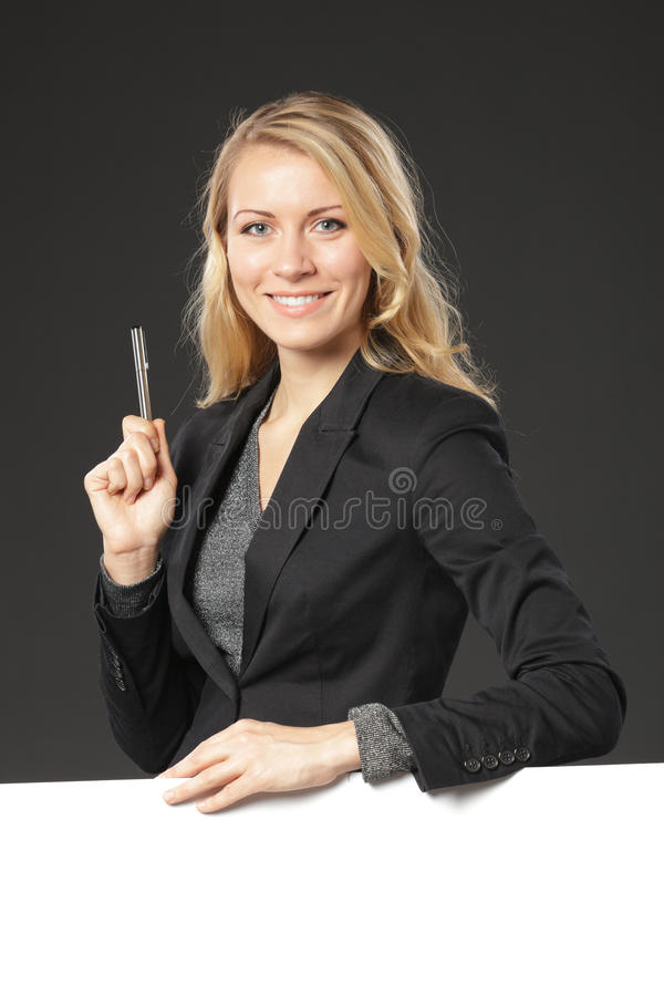 Girl standing with blank board royalty free stock photos