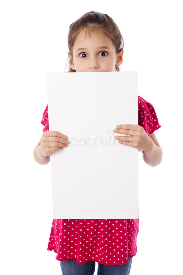Download Girl Standing With Empty Paper Stock Image - Image: 26625383