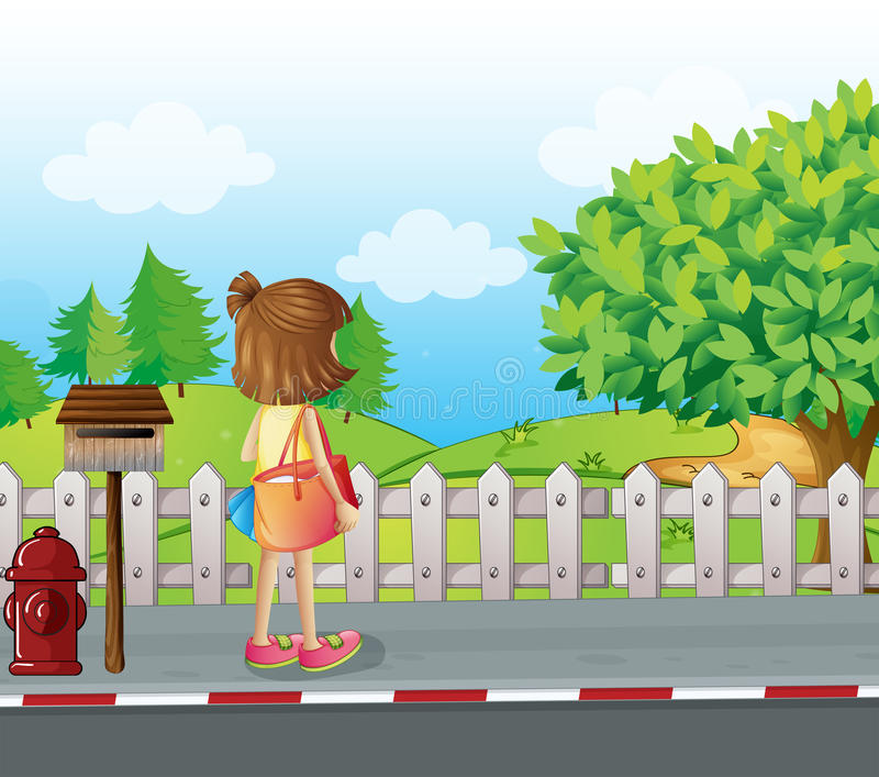 A girl standing near the mailbox at the roadside. Illustration of a girl standing near the mailbox at the roadside stock illustration