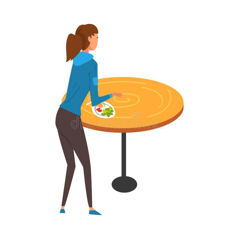 Girl Standing near Table and Eating in Food Court in Shopping Mall Vector Illustration. On White Background stock illustration