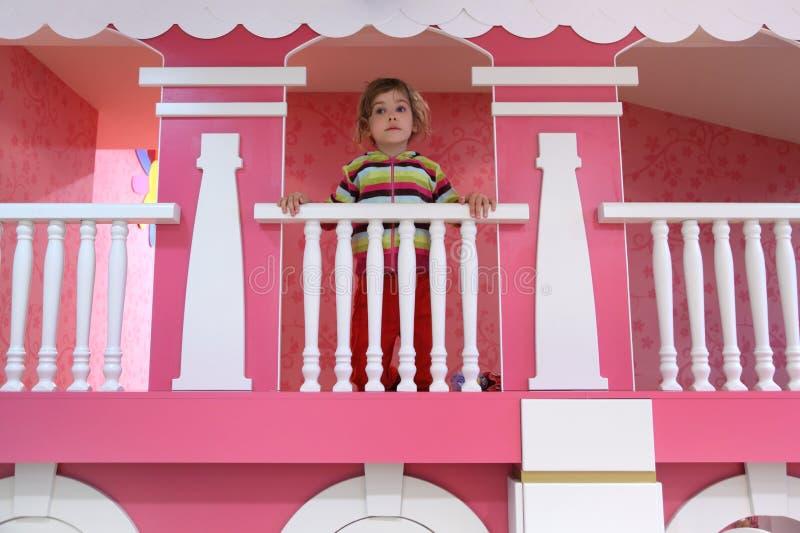 Download Girl Standing On Pink Childish Balcony Stock Photo - Image: 15587132