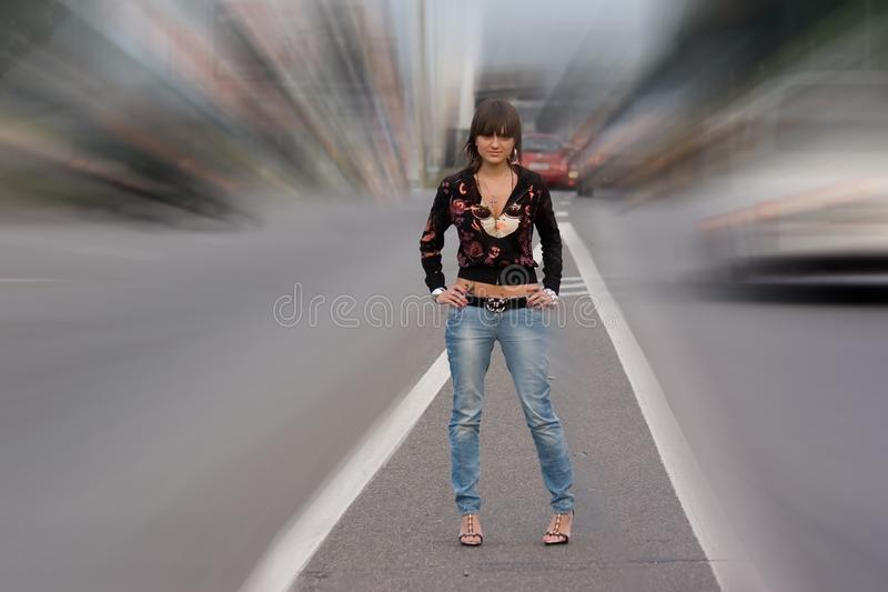 Download Girl standing on the road. stock image. Image of casual - 10830715