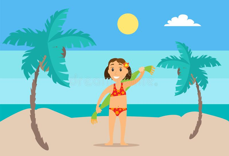 Girl with Towel on Sand, Mountain Landscape Vector vector illustration