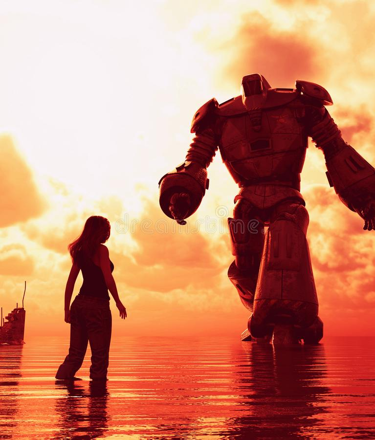 Girl standing in the sea looking to a giant robot. In front of her,3d illustration stock illustration