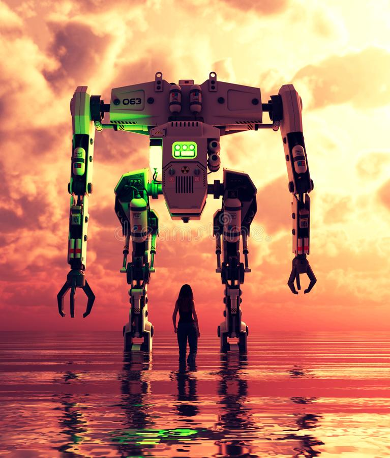 Girl standing in the sea looking to a giant robot. In front of her,3d illustration vector illustration