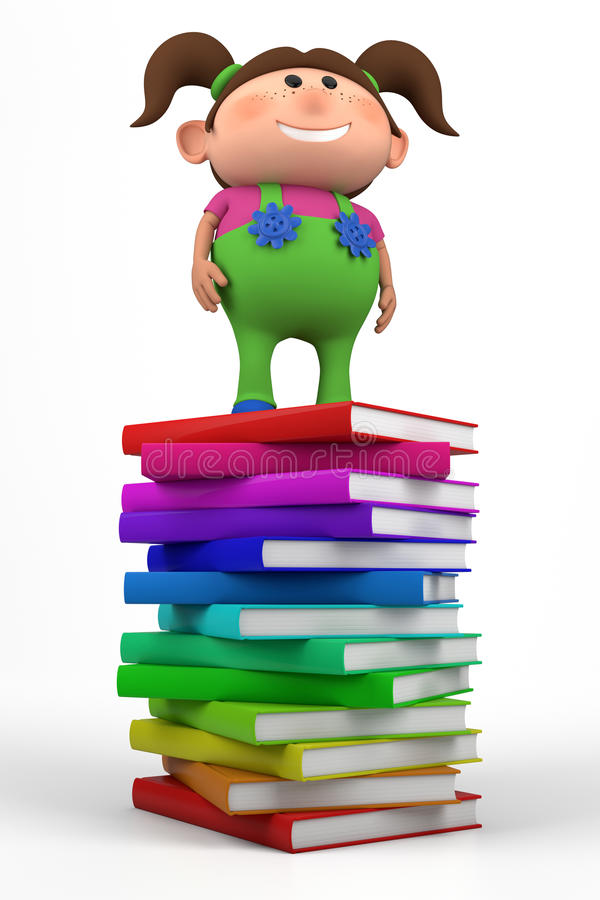 Girl standing on a stack of books royalty free illustration