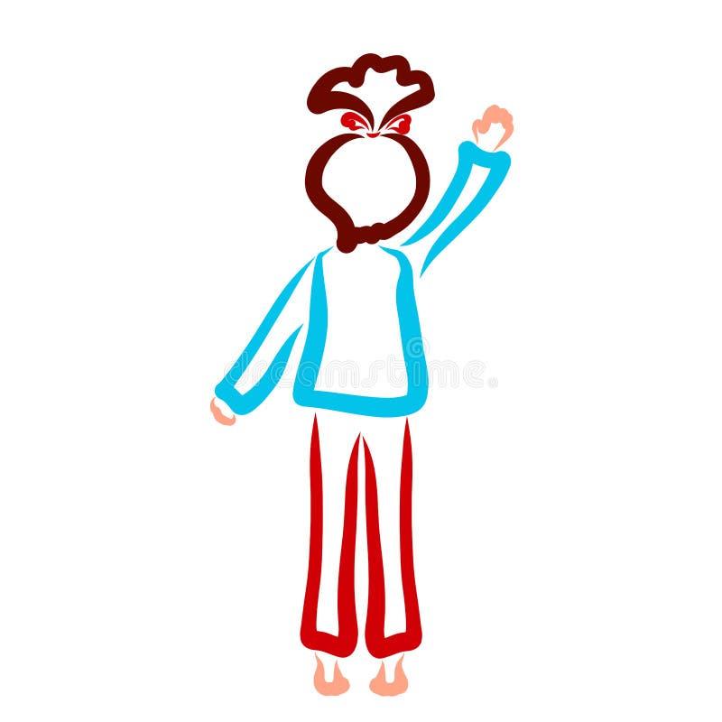 Girl standing on tiptoe waving hand, contour stock illustration