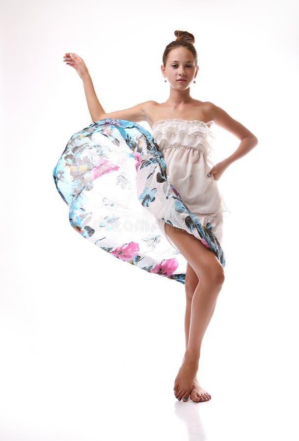Girl throws up a dress stock photos
