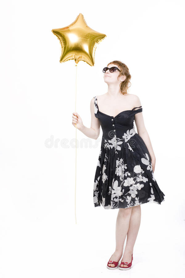 Download Girl With Star-shaped Balloons Royalty Free Stock Photos - Image: 10710448