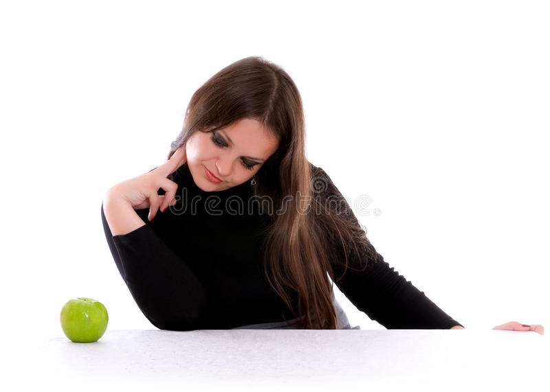 Girl Staring At The Apple Stock Photos