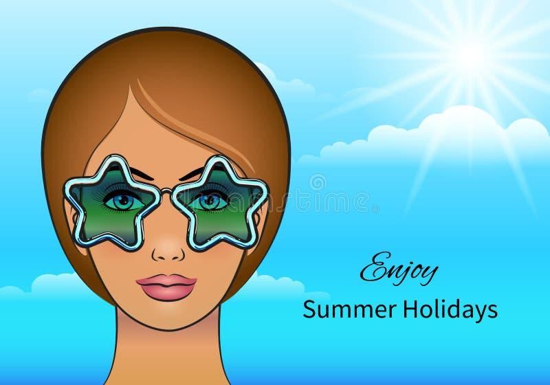 Girl in stars sunglasses royalty free illustration