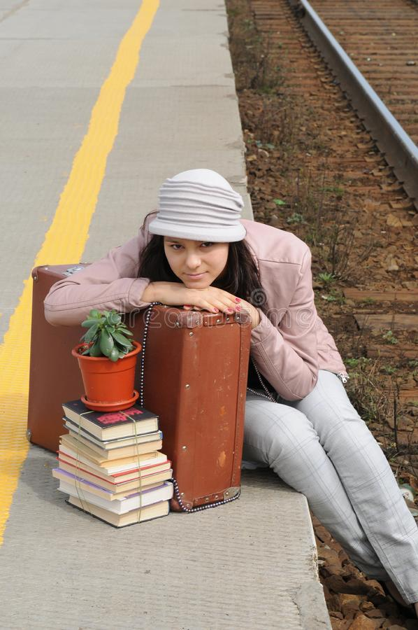 Download Girl at station stock photo. Image of road, suitcase - 14295742