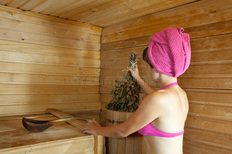 Download Girl is steamed in  sauna stock image. Image of bikini - 23422461