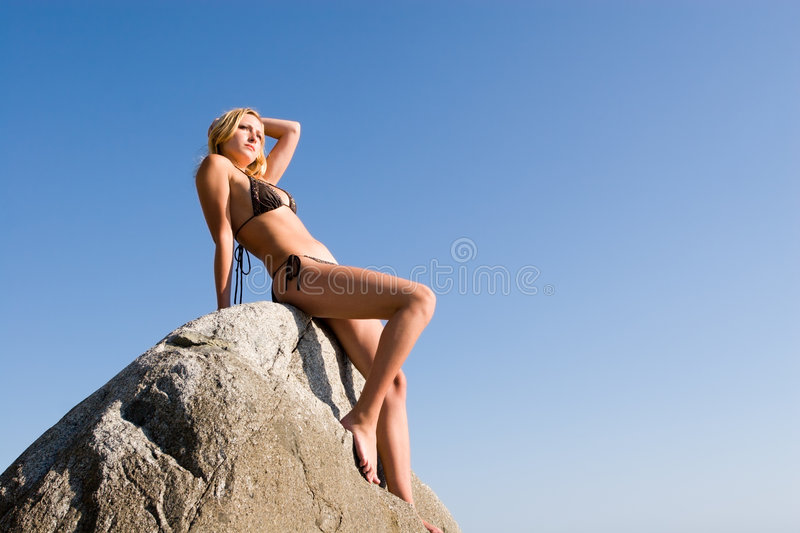 Download Girl And Stone Royalty Free Stock Image - Image: 1795266
