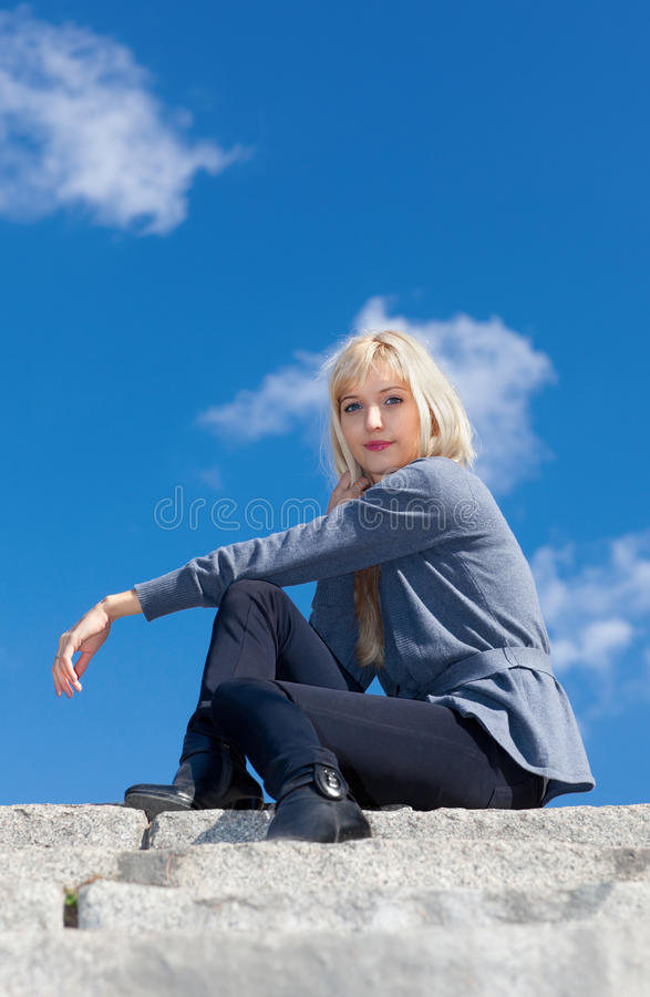 Download Girl on the stone steps stock image. Image of caucasian - 21883537