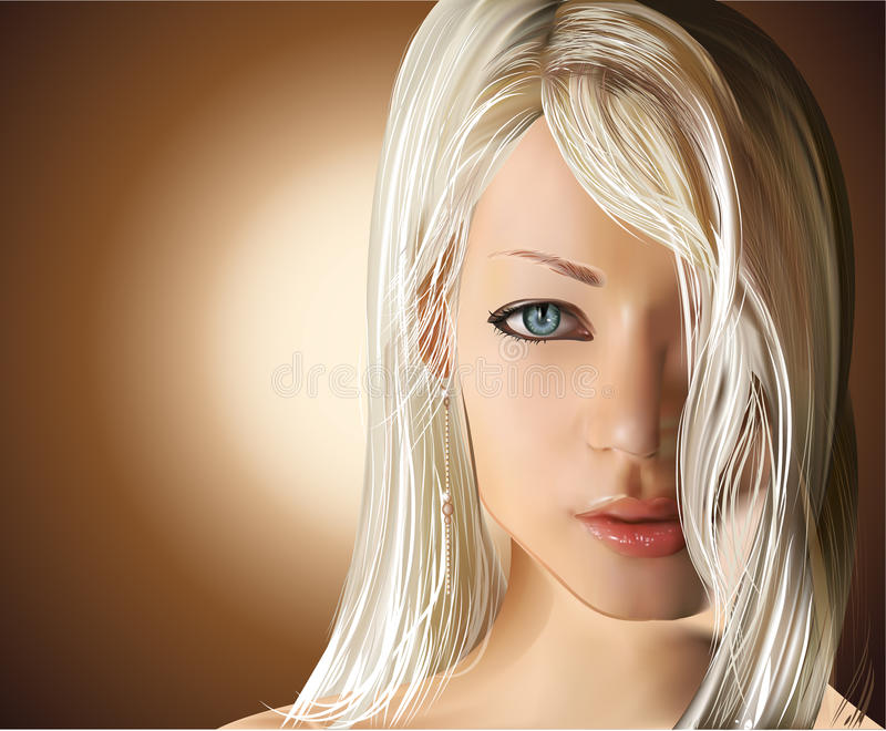 Girl With Straight Blond Hair Royalty Free Stock Photography