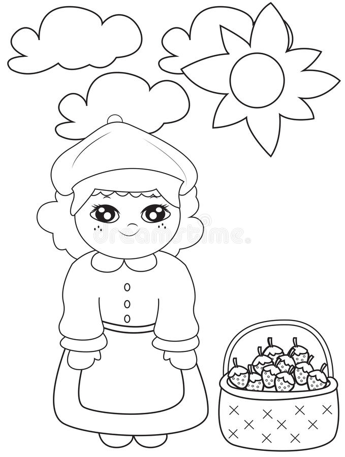 Girl with strawberries under the sun coloring page. Useful as coloring book for kids stock illustration